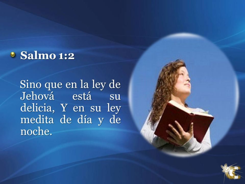 Salmo 1:2 Sino que en la ley de Jehová está su delicia, Y en su ley medita de día y de noche.