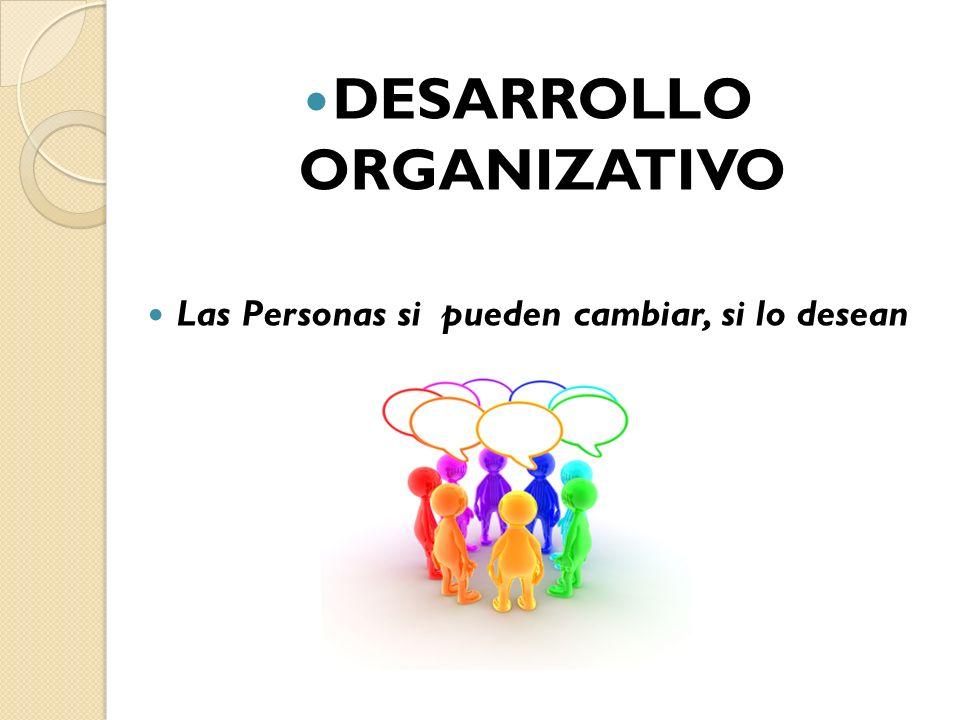 DESARROLLO ORGANIZATIVO Las Personas si pueden cambiar, si lo desean