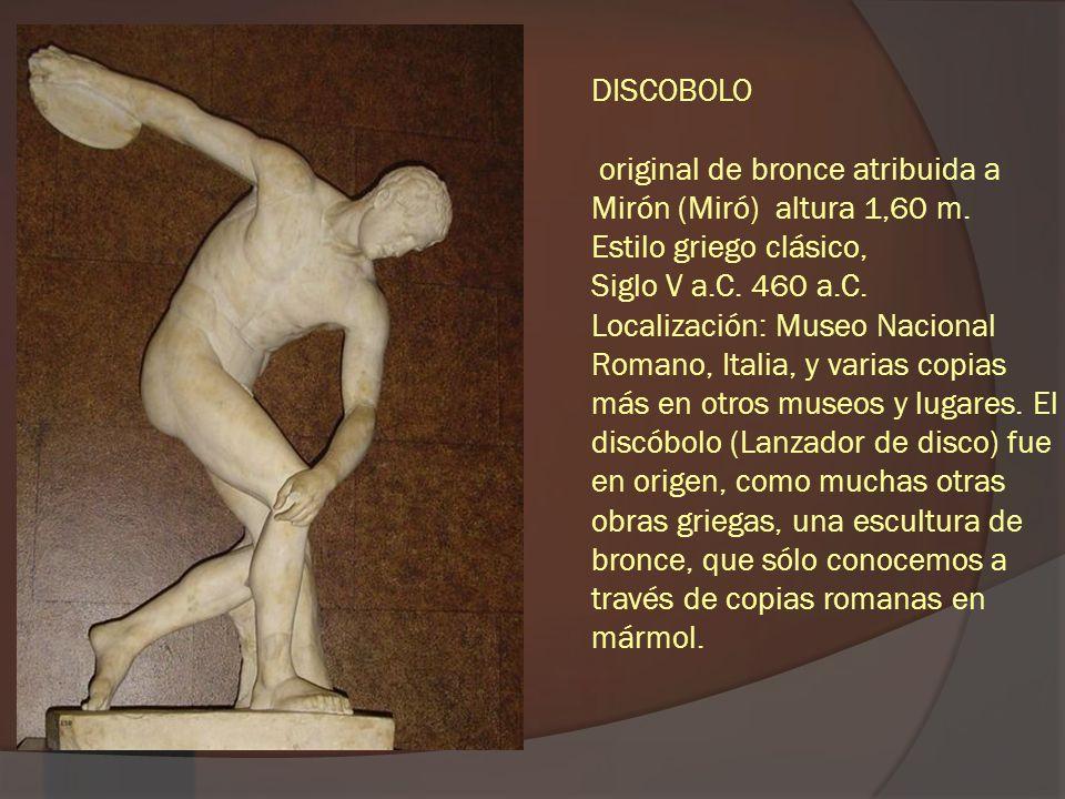 DISCOBOLO original de bronce atribuida a Mirón (Miró) altura 1,60 m