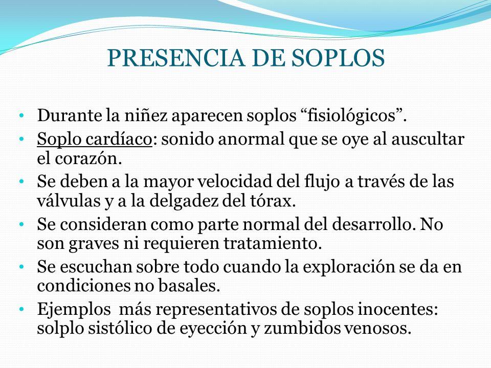 PRESENCIA DE SOPLOS Durante la niñez aparecen soplos fisiológicos .