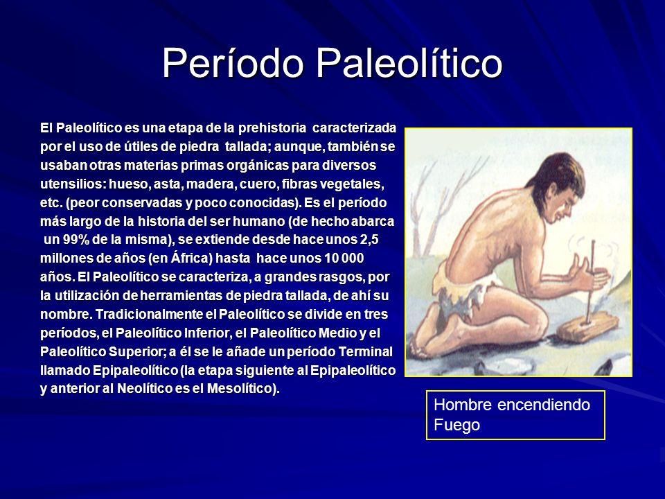Período Paleolítico Hombre encendiendo Fuego