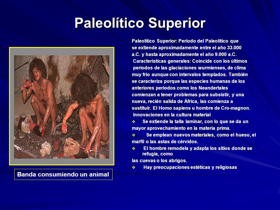 Paleolítico Superior Banda consumiendo un animal