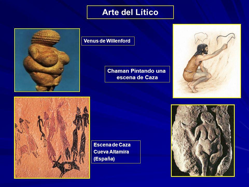 Arte del Lítico Chaman Pintando una escena de Caza Venus de Willenford