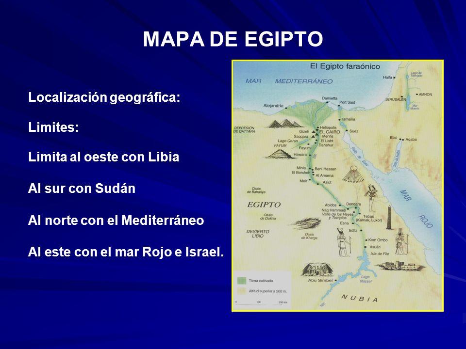 MAPA DE EGIPTO Localización geográfica: Limites: