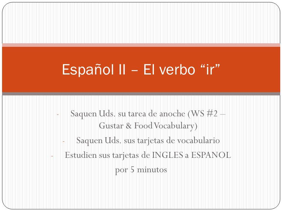 Español II – El verbo ir