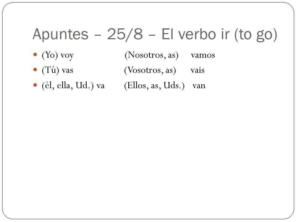 Apuntes – 25/8 – El verbo ir (to go)