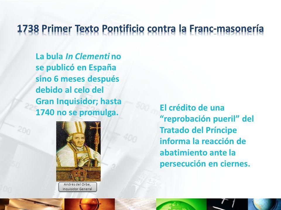 1738 Primer Texto Pontificio contra la Franc-masonería