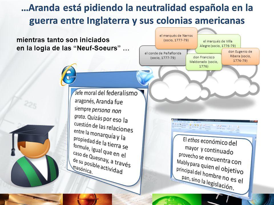 …Aranda está pidiendo la neutralidad española en la guerra entre Inglaterra y sus colonias americanas