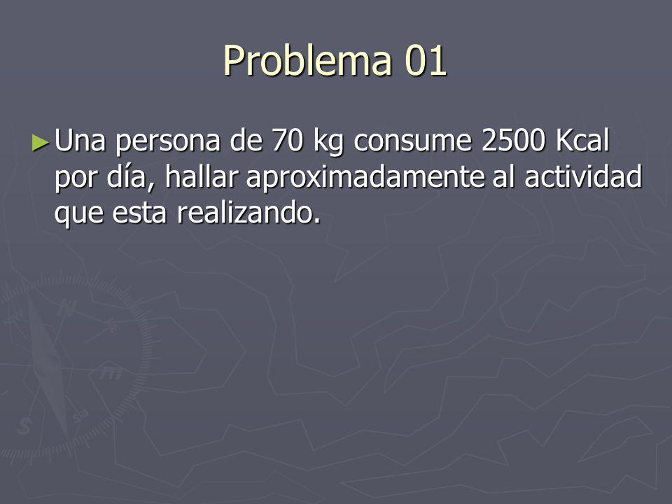 Problema 01 Una persona de 70 kg consume 2500 Kcal por día, hallar aproximadamente al actividad que esta realizando.