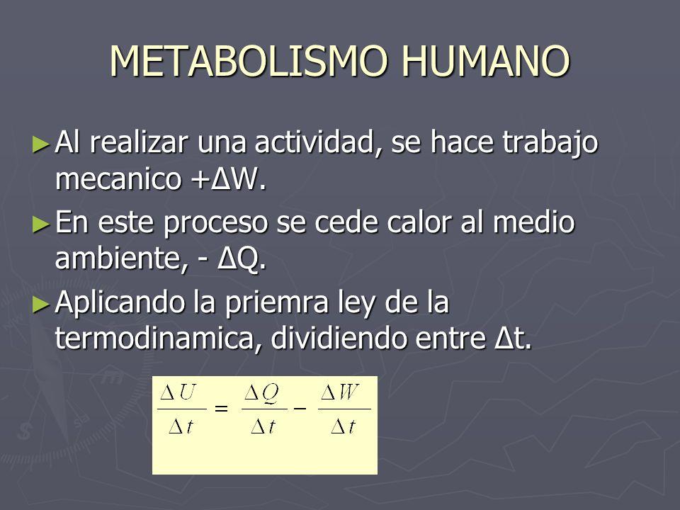 METABOLISMO HUMANO Al realizar una actividad, se hace trabajo mecanico +ΔW. En este proceso se cede calor al medio ambiente, - ΔQ.