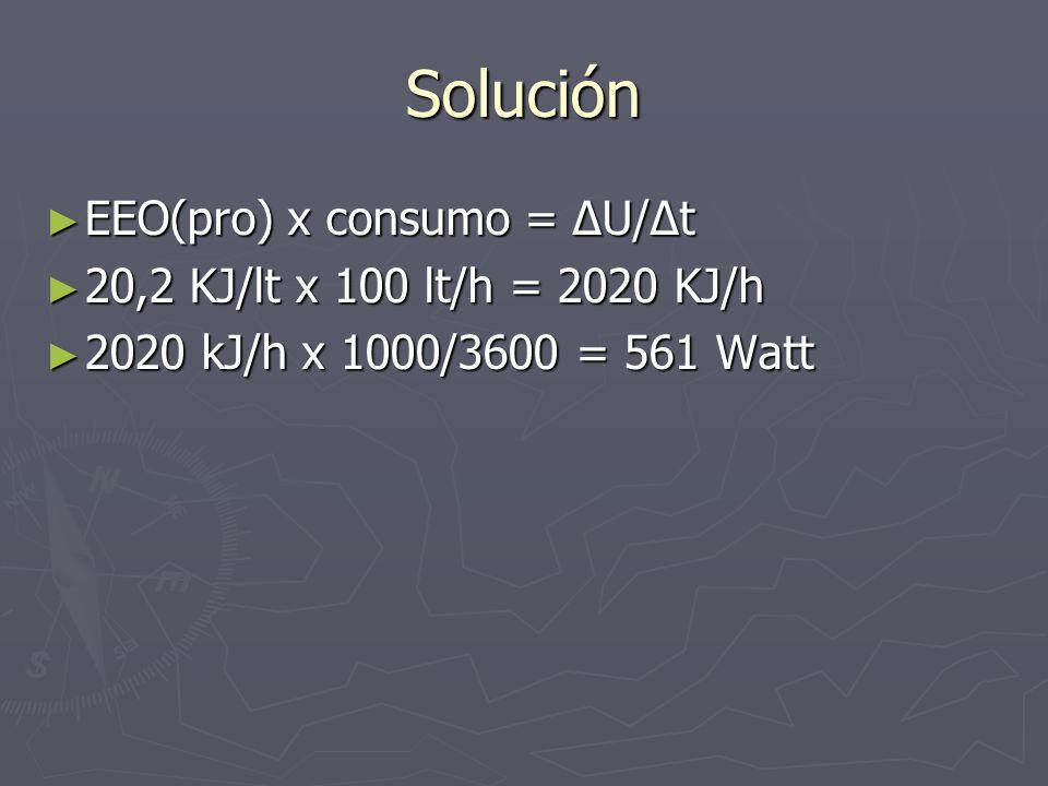 Solución EEO(pro) x consumo = ΔU/Δt 20,2 KJ/lt x 100 lt/h = 2020 KJ/h