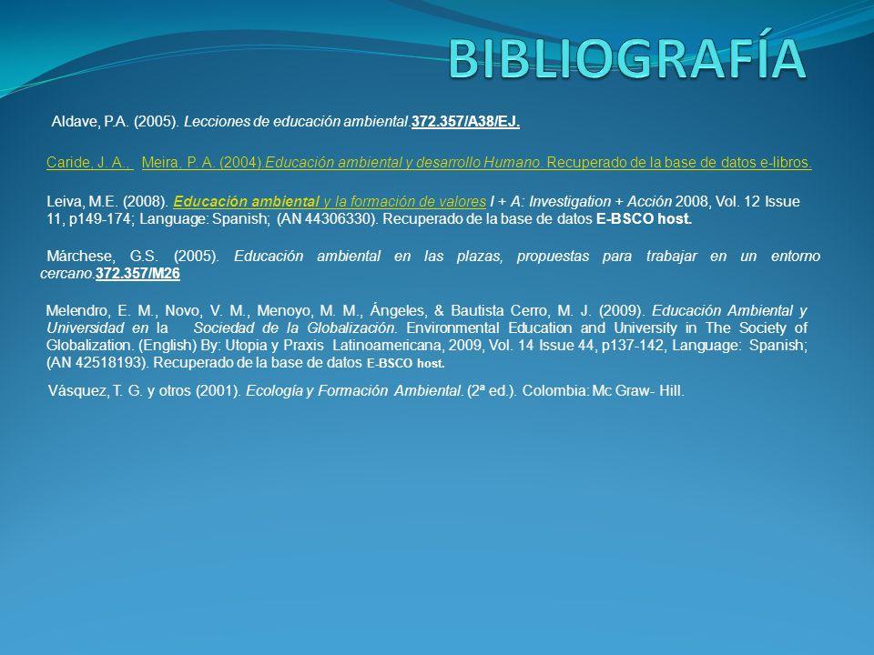 BIBLIOGRAFÍA Aldave, P.A. (2005). Lecciones de educación ambiental.372.357/A38/EJ.