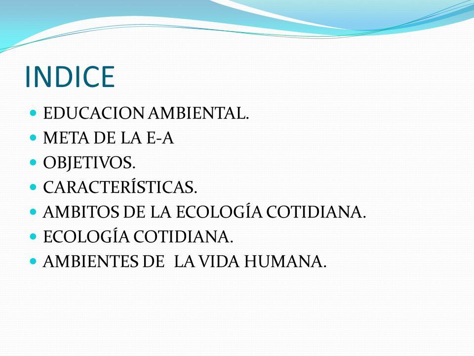 INDICE EDUCACION AMBIENTAL. META DE LA E-A OBJETIVOS. CARACTERÍSTICAS.