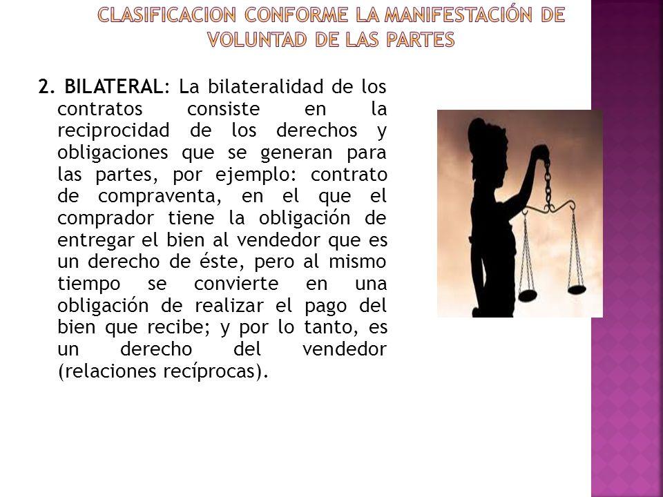 CLASIFICACION CONFORME LA MANIFESTACIÓN DE VOLUNTAD DE LAS PARTES