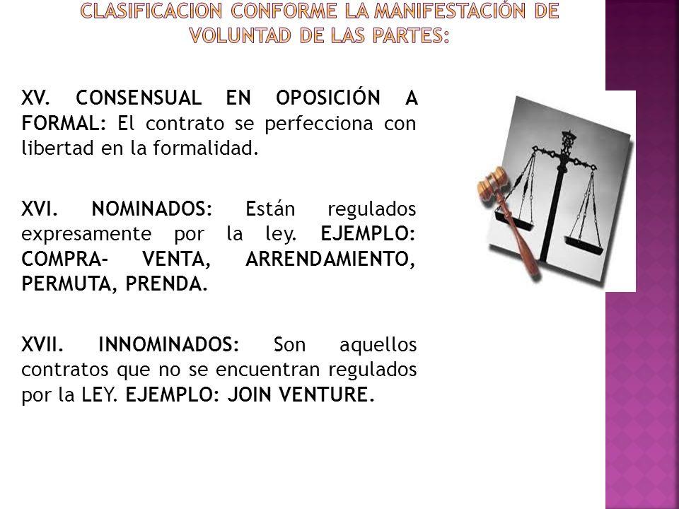 CLASIFICACION CONFORME LA MANIFESTACIÓN DE VOLUNTAD DE LAS PARTES: