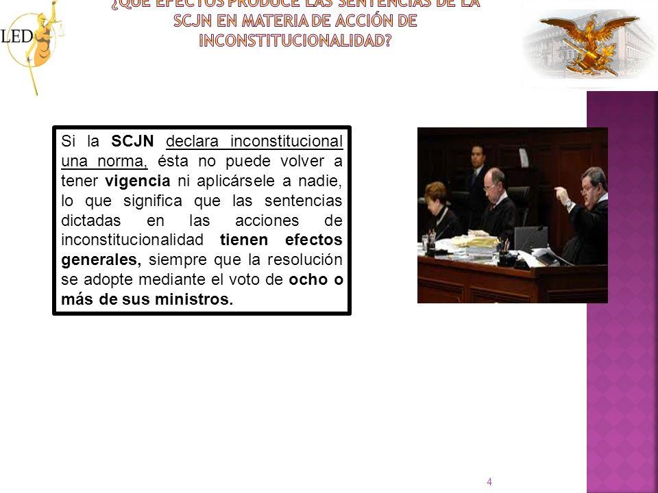 ¿Qué efectos produce las sentencias de la SCJN en materia de acción de inconstitucionalidad