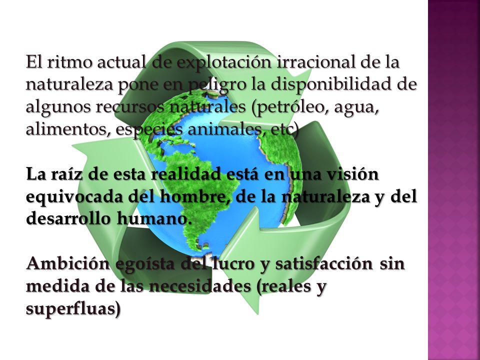 El ritmo actual de explotación irracional de la naturaleza pone en peligro la disponibilidad de algunos recursos naturales (petróleo, agua, alimentos, especies animales, etc)