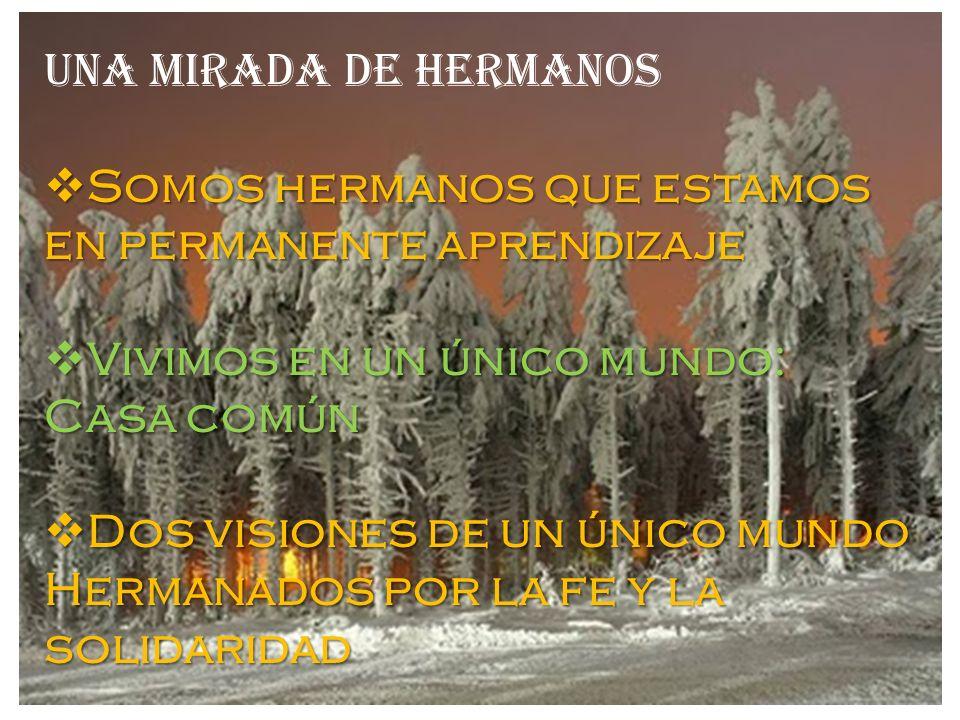 UNA MIRADA DE HERMANOS Somos hermanos que estamos en permanente aprendizaje. Vivimos en un único mundo: Casa común.