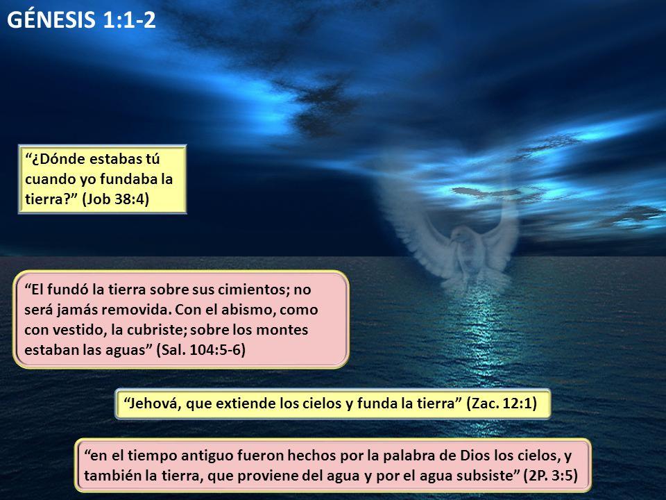 GÉNESIS 1:1-2 ¿Dónde estabas tú cuando yo fundaba la tierra (Job 38:4)