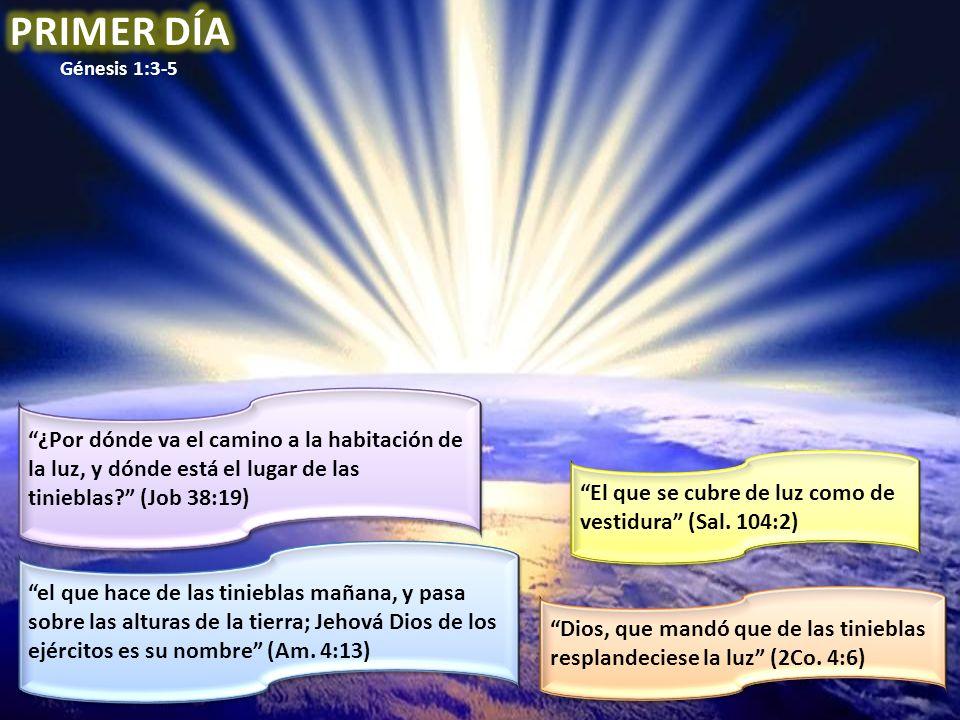 PRIMER DÍA Génesis 1:3-5. ¿Por dónde va el camino a la habitación de la luz, y dónde está el lugar de las tinieblas (Job 38:19)