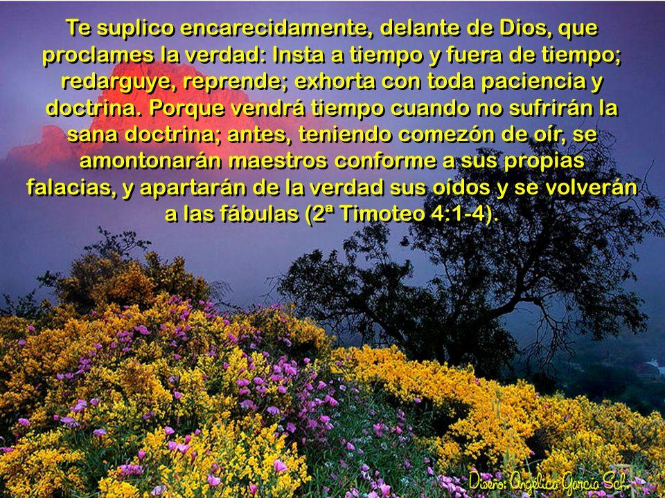Te suplico encarecidamente, delante de Dios, que proclames la verdad: Insta a tiempo y fuera de tiempo; redarguye, reprende; exhorta con toda paciencia y doctrina.