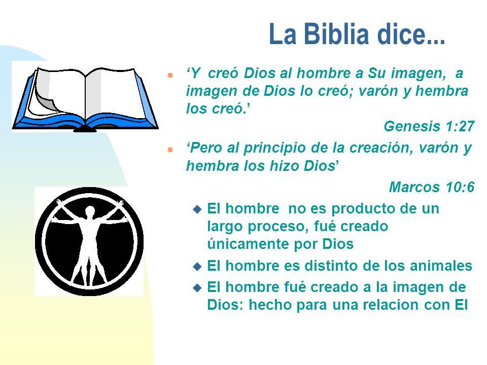 La Biblia dice... 'Y creó Dios al hombre a Su imagen, a imagen de Dios lo creó; varón y hembra los creó.'