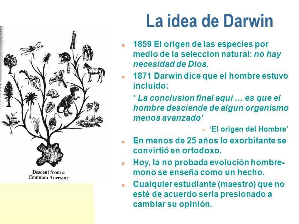 La idea de Darwin 1859 El origen de las especies por medio de la seleccion natural: no hay necesidad de Dios.