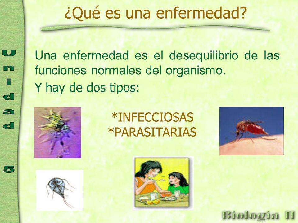 ¿Qué es una enfermedad Una enfermedad es el desequilibrio de las funciones normales del organismo.