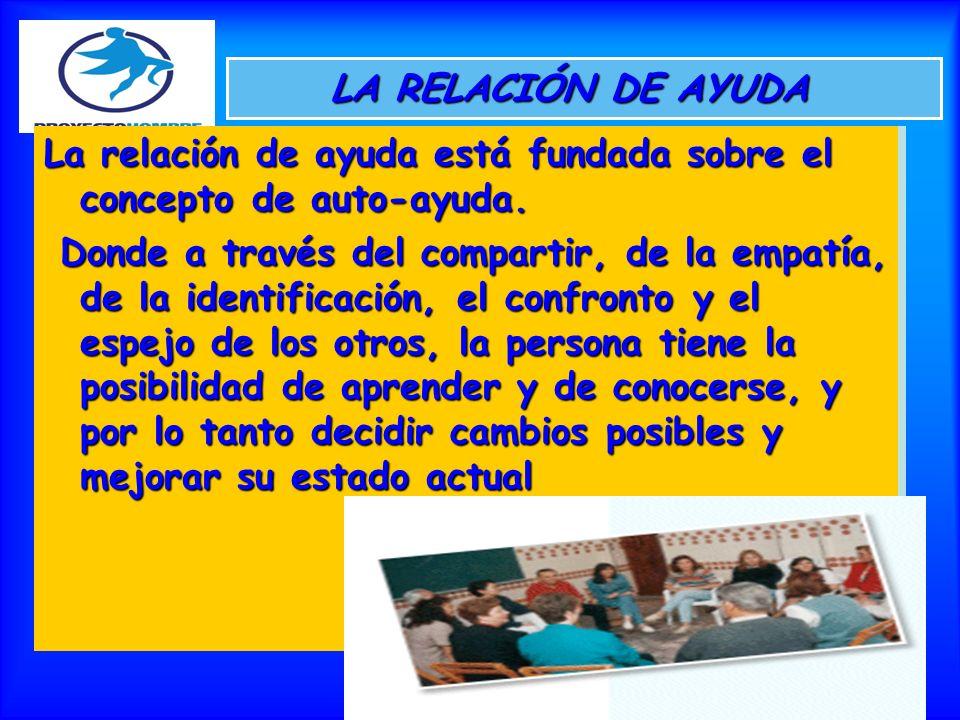 LA RELACIÓN DE AYUDA La relación de ayuda está fundada sobre el concepto de auto-ayuda.