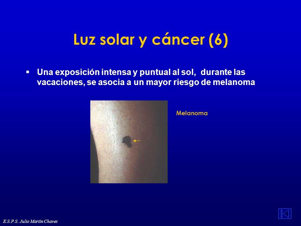 Luz solar y cáncer (6) Una exposición intensa y puntual al sol, durante las vacaciones, se asocia a un mayor riesgo de melanoma.
