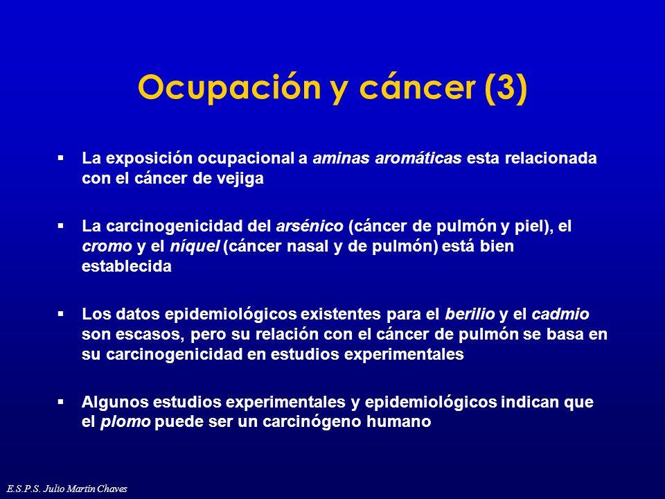 Ocupación y cáncer (3) La exposición ocupacional a aminas aromáticas esta relacionada con el cáncer de vejiga