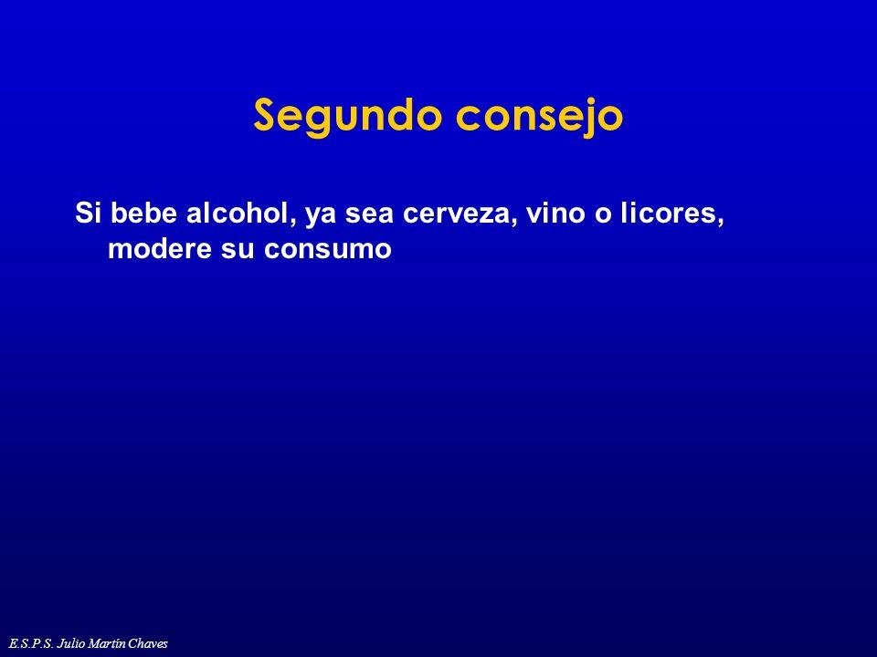 Segundo consejo Si bebe alcohol, ya sea cerveza, vino o licores, modere su consumo.
