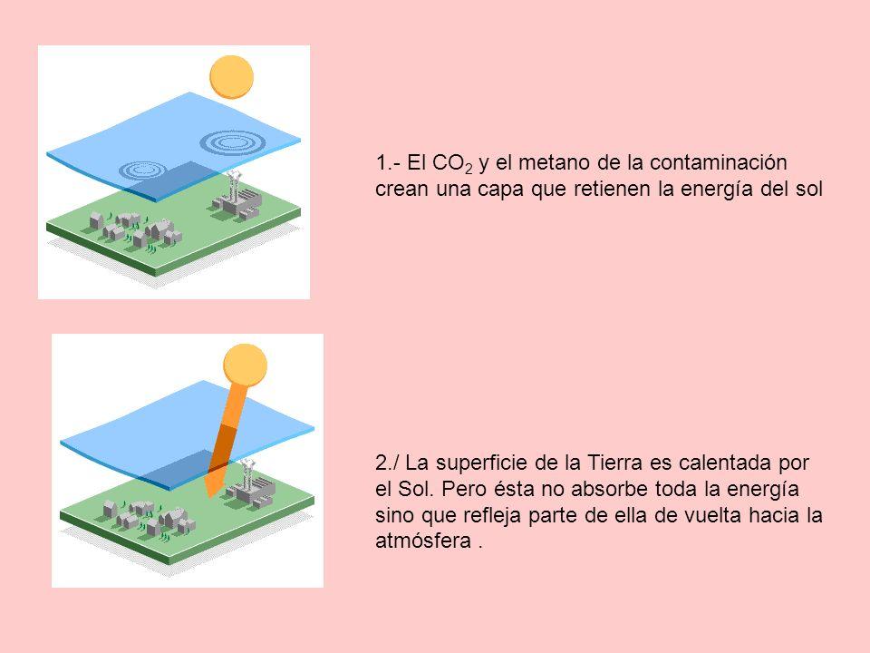 1.- El CO2 y el metano de la contaminación crean una capa que retienen la energía del sol