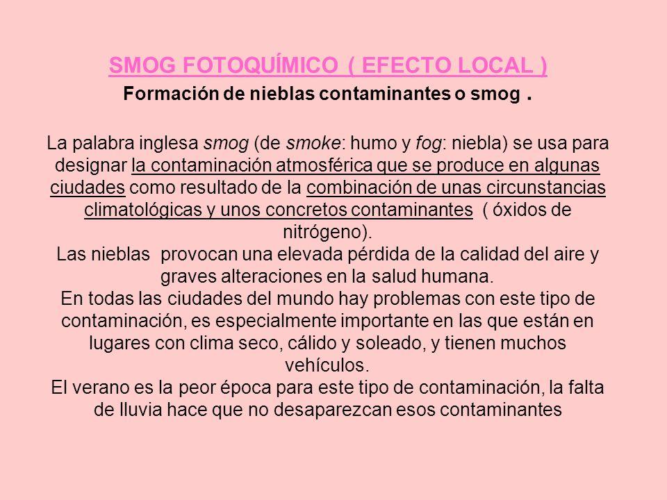 SMOG FOTOQUÍMICO ( EFECTO LOCAL ) Formación de nieblas contaminantes o smog .