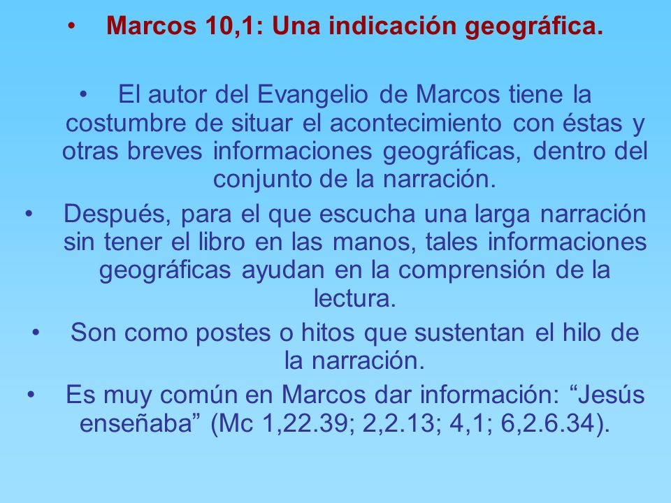 Marcos 10,1: Una indicación geográfica.