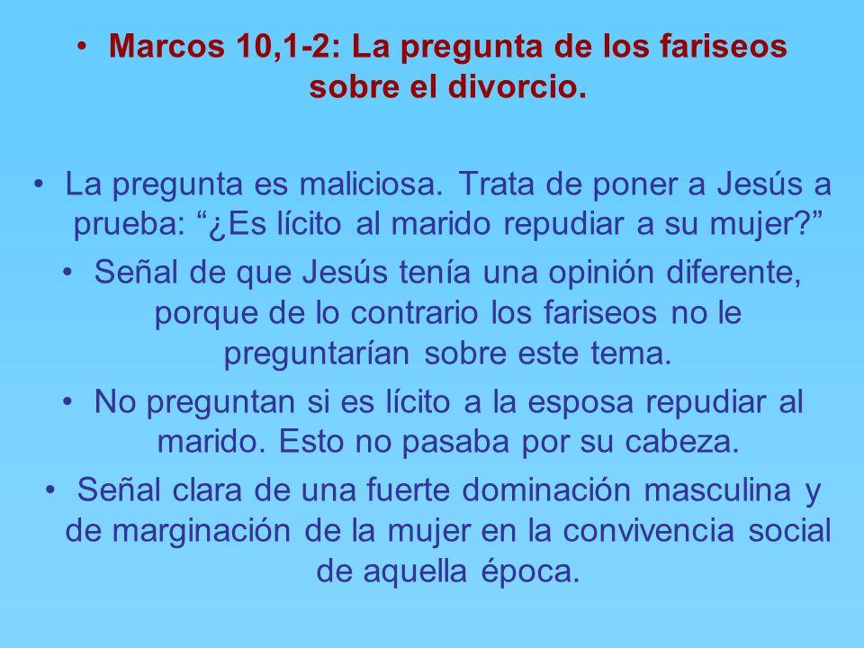 Marcos 10,1-2: La pregunta de los fariseos sobre el divorcio.