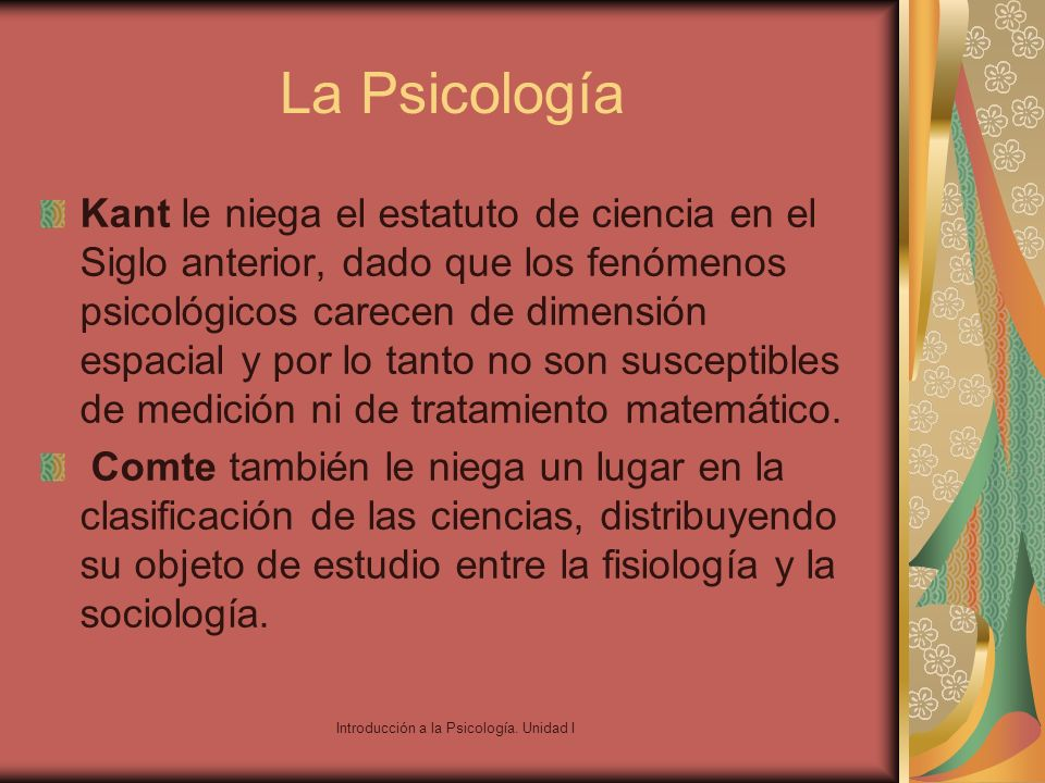 Introducción a la Psicología. Unidad I
