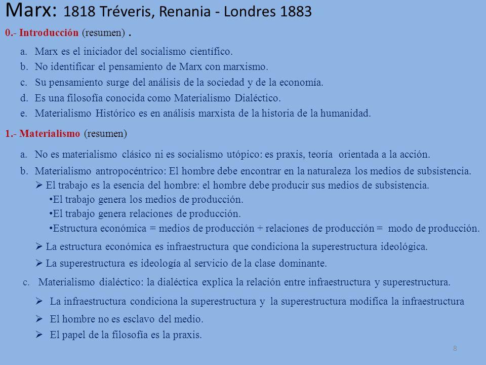 Marx: 1818 Tréveris, Renania - Londres 1883