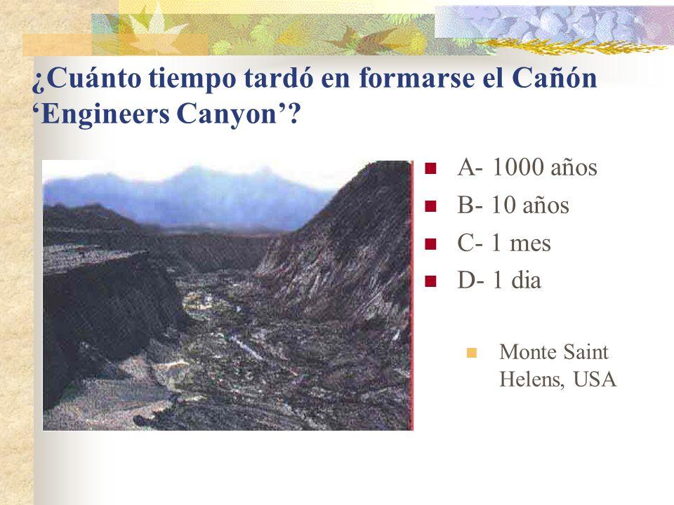 ¿Cuánto tiempo tardó en formarse el Cañón 'Engineers Canyon'