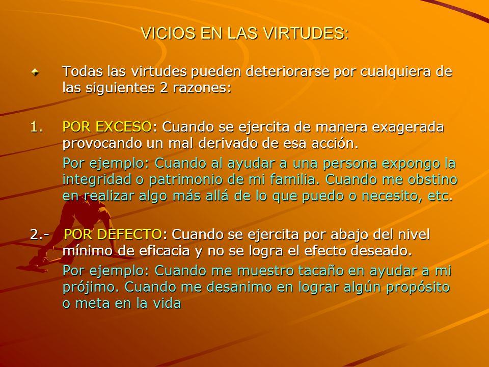 VICIOS EN LAS VIRTUDES:
