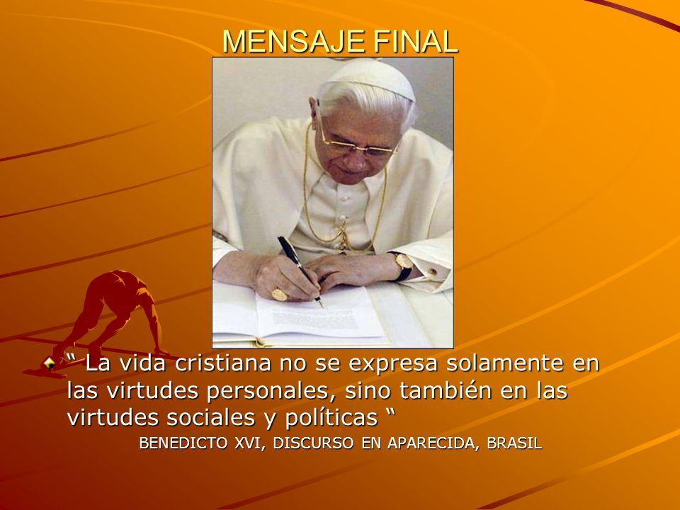BENEDICTO XVI, DISCURSO EN APARECIDA, BRASIL
