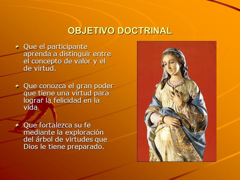 OBJETIVO DOCTRINAL Que el participante aprenda a distinguir entre el concepto de valor y el de virtud.