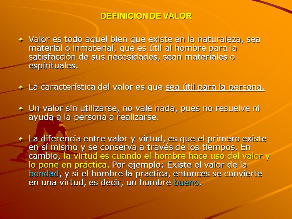 DEFINICION DE VALOR
