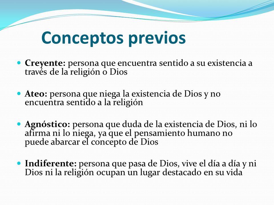 Conceptos previos Creyente: persona que encuentra sentido a su existencia a través de la religión o Dios.