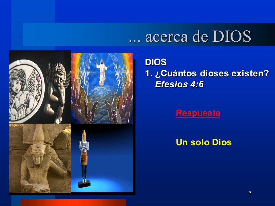 ... acerca de DIOS DIOS 1. ¿Cuántos dioses existen Efesios 4:6