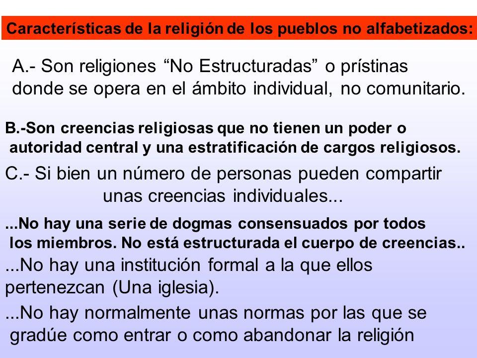 A.- Son religiones No Estructuradas o prístinas