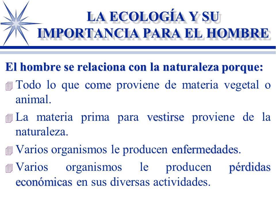 LA ECOLOGÍA Y SU IMPORTANCIA PARA EL HOMBRE