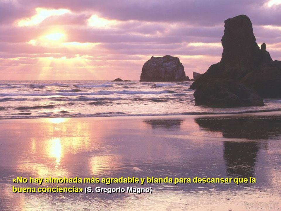 «No hay almohada más agradable y blanda para descansar que la buena conciencia» (S. Gregorio Magno)