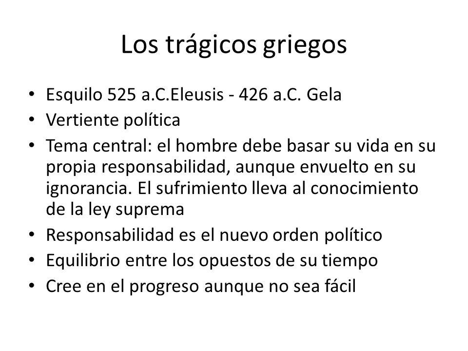 Los trágicos griegos Esquilo 525 a.C.Eleusis - 426 a.C. Gela