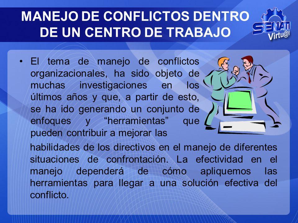 MANEJO DE CONFLICTOS DENTRO DE UN CENTRO DE TRABAJO